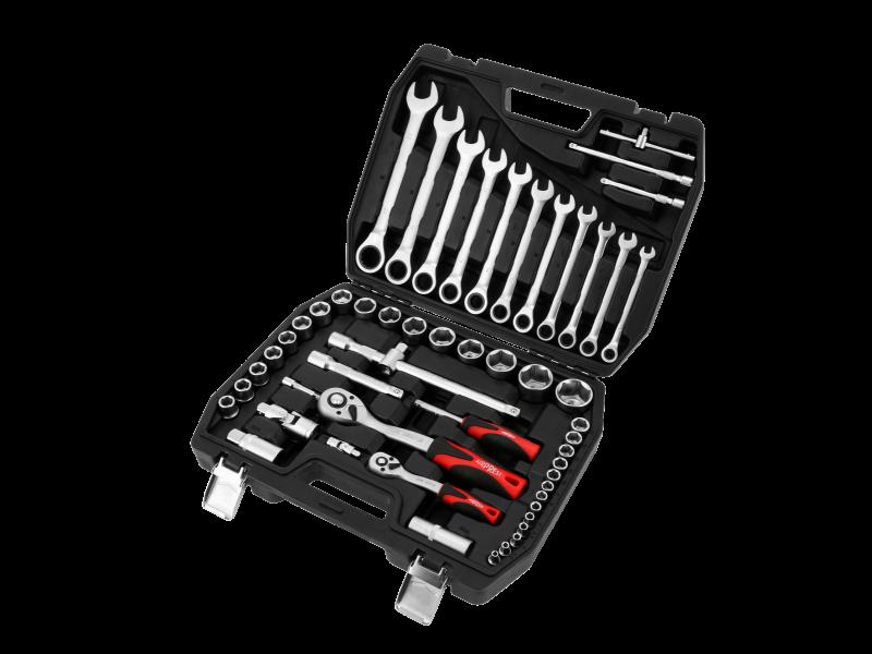 Profesjonalna walizka narzędziowa z zestawem nasadek chromowo-wanadowych 54 elementy