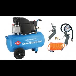 Kompresor tłokowy HL 275-50 + zestaw 6 narzędzi pneumatycznych