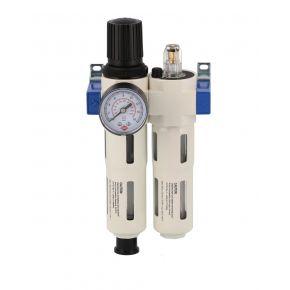 """Profesjonalny filtr powietrza z reduktorem i naoliwiacz 1/2"""" 15 bar"""