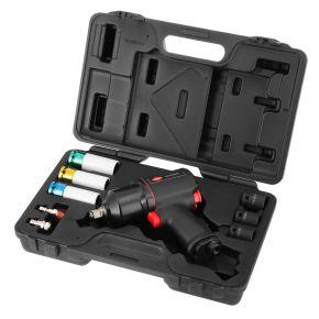 Zestaw dla wulkanizatora: klucz udarowy 45411 + 3 nasadki udarowe do kół + 3 nasadki długie do felg aluminiowych