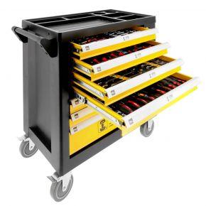 Wózek narzędziowy marki VRB z zestawem 258 profesjonalnych narzędzi