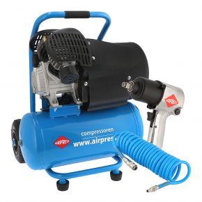 """Kompresor HL 425-24 8 bar 3 KM 314 l/min 24 l + Klucz udarowy 1/2"""" + Wąż spiralny 5m"""
