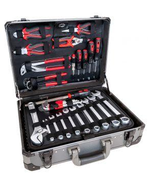 Profesjonalny zestaw narzędzi w aluminiowej walizce 127 elementów